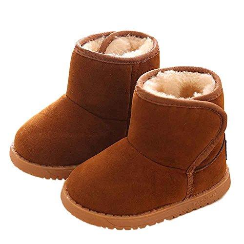 SUCES Winter Baby Kind Stil Baumwolle Boot warme SchneeschuheSchneestiefel Kleinkind Baby Damenschuhe Kinder walker Winterboots Kind Krabbelschuhe Warm Sportschuhe Turnschuhe (22, Brown) (Walker Sportschuhe)