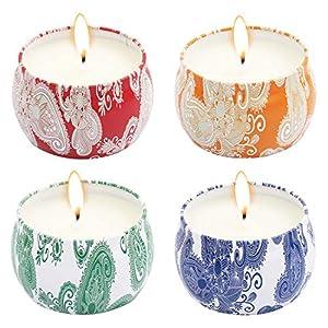 T98 Duftkerze, 2018 Duftkerzen Set 4 Stück Aromatherapie Kerze mit Baumwolldocht von Frühling frisch Violett Lavendel und Apfelwein Duft, für Yoga Spa Massage Geburtstag Weihnachten Valentinstag