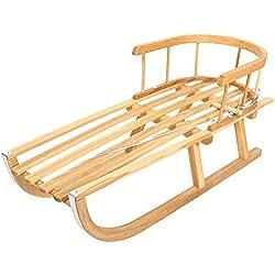 Trineo trineo infantil de madera con respaldo + tire-luge Neuf