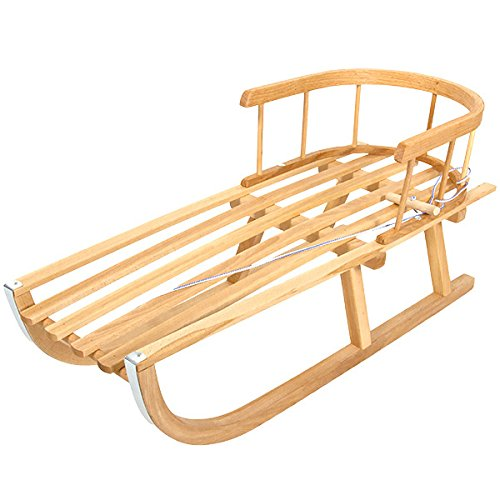 Holzschlitten mit Rückenlehne und Zugseil Schlitten aus Holz Kinderschlitten