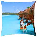 Aitutaki Cook Islands Water Villa Bungalow on Blue lagoon sea ocean - Throw Pillow Cover Case (18