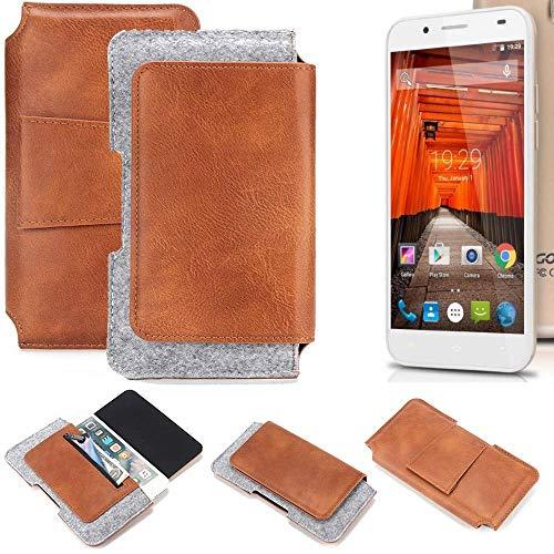 K-S-Trade für Swees Godon X589 Gürteltasche Schutz Hülle Gürtel Tasche Schutzhülle Handy Smartphone Tasche Handyhülle PU + Filz, braun (1x)