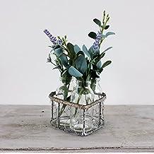 Corazón cesta de Crate Box con 3botellas de cristal Shabby Vintage boda de estilo mesa centro de mesa o florero