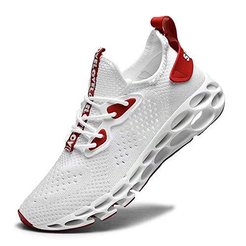 FUSHITON - Scarpe Sportive da Uomo, da Basket, Corsa, Competizione, Allenamento, Fitness, Tennis, Atletica, (Blanc-Rouge), 41 EU