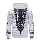Pullover Sweats Imprimé De Sport Slim Sweatshirt Long Hoodie Manche Longues à La Mode Loisirs Pas Cher Blouse M~XXXL (L, Blanc)