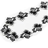 Hometexille-Stoff, 4,5 cm, Weiß, bestickt, schwarze Blume,