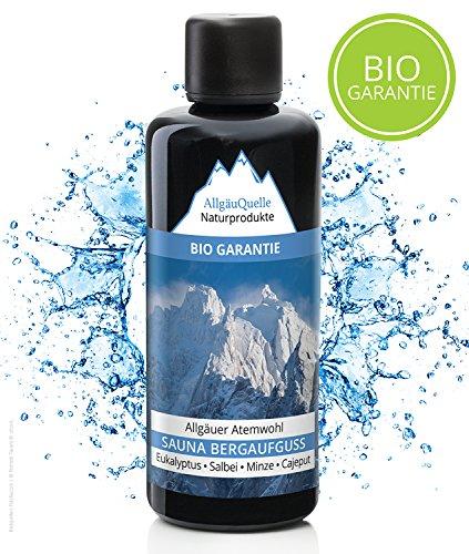 Saunaaufguss mit 100% BIO-Öle Atemwohl Eukalyptus Minze Salbei Cajeput (100ml). Natürlicher Sauna-aufguss m. ätherische Sauna-Öle im Aufguss-Mittel. Saunaöl natrurrein (kba)/Bio-Saunaduft