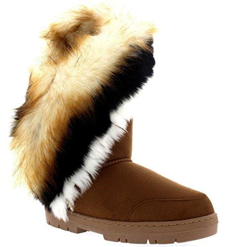 Damen Tall Tassel Rabbit Pelz Gefüttert Winter Kaltes Wetter Schnee Regen Stiefel - Tan - TAN38 AEA0398 -