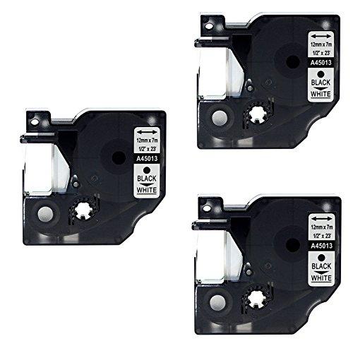 Kompatible P-touch als Ersatz für DYMO D1 45013 12mm 7m Etikettenband(Schwarz auf Weiß,3er-Pack)