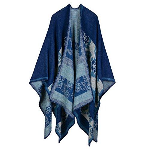 Femmes Fleur Imprimer Poncho Châle de dames tricotée Wrap Cape Bleu