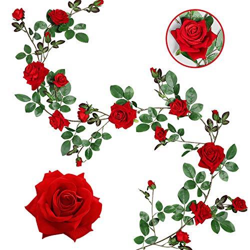 Veryhome Künstliche Seide Rose Blumen Ivy Garland Gefälschte Reben Hängende Pflanzen Blätter Für Hochzeit Garten Wand Valentine Dekorationen (Rot-Upgrade Version)
