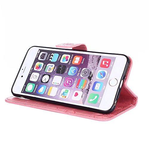 EKINHUI Case Cover Premium PU Leder Folio Stand Case, Solid Farbe prägeartig Blumen Muster Schutzhülle Tasche Tasche mit Lanyard & Card Slots für iPhone 6 Plus & 6s Plus ( Color : Blue ) Pink