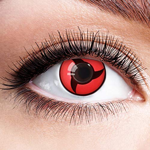 Farbige Kontaktlinsen Schwarz Rot Ohne Stärke mit Motiv Linsen Halloween Karneval Fasching Cosplay Kostüm Black Red Eyes Schwarze Rote Augen Anime Sharingan Mangekyou