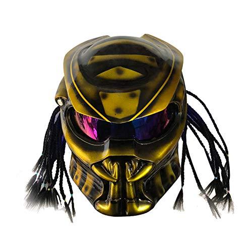 MJTK Motorradhelm, Domineering Iron Warrior Motorrad, Persönlicher Predator-Helm Mit Vollem Helm, Mit Bluetooth-Headset,Gold (57-64 cm),Gold,XXL