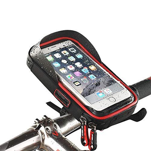 SHKY Fahrrad-Handytasche bis 6 '', Fahrrad-Lenkertasche, wasserdichter Touchscreen Fahrrad-Fahrradlenker-Fronthandyhalter 360 ° drehbar,Red