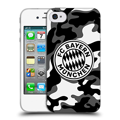 Offizielle FC Bayern Munich Camouflage 2017/18 Muster Soft Gel Hülle für Apple iPhone 4 / iPhone 4S Iphone 4s 8gb