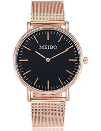 Relojes de Mujer Rosa 2018 Reloj de Correa de Acero Inoxidable de Cuarzo  Casual Muñeca Analógica 9129d4ee2e55
