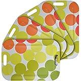 WUMN Plateau en plastique coloré avec poignées, sans BPA Plateau de sécurité pour nourriture, rectangulaire, en mélamine, de 42 x 30 cm, Plat de service, lot de 4