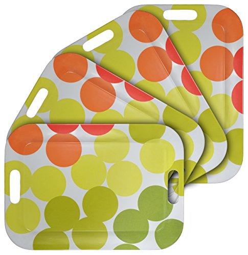 f Serviertablett Mit Griffen, Rechteckiges BPA-freies Esstablett 42 x 30cm, Servierplatten Tablett - 4er Set (Kunststoff Serviertablett)