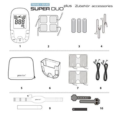 prorelax Tens/Ems SuperDuo Plus. Elektrostimulationsgerät mit besonders umfangreichem Zubehörset - 9