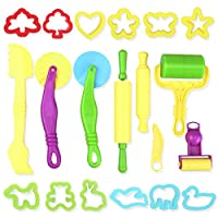 TOYMYTOY Dough Tools Kit with Models and Molds 20pcs (Random Color)