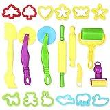 TOYMYTOY Herramientas de Plastilina Plastico Moldes Juegos de Imitación Juguetes Educativos para Niños Bebé 20pcs (Color al Azar)