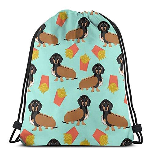 Dackel Hot Dog und Pommes Essen Funny Dog Kostüm Cute Dog Wiener Dog_63 Drawstring Rucksack Rucksack Schultertaschen Leichte Sporttasche zum Wandern Yoga Gym Schwimmen Travel Beach