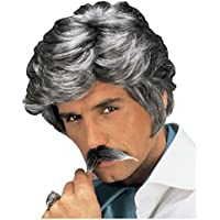 Playboy Wig and Moustache Grey (peluca)