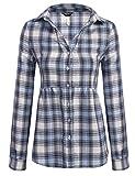 Zeagoo Damen Basic Karo Hemd beiläufige langarm Plaid Bluse karierte Tunika mit Knopfleiste (Blau)