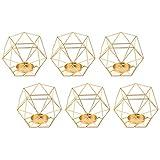B Blesiya 6er-Set Nordischer Draht Kerzenhalter Kerzenständer Teelichthalter Hochzeitsdekoration