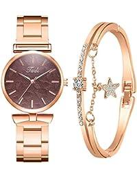 Dorical Damen Uhren Analog Quarz Edelstahl Armband Ultradünne Set mit Armreif,Geschenk für Frauen Perfect Match - Freundin,Mama oder SchwesterGeschenk Set aus Armbanduhr und Armband
