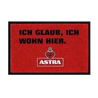 Astra Herzanker Fußmatte ICH GLAUB, ICH WOHN HIER. für Außen- und Innenbereich, Anti-Rutsch Schmutzfangmatte rot, Fußabtreter aus, ideales Geschenk zum Einzug