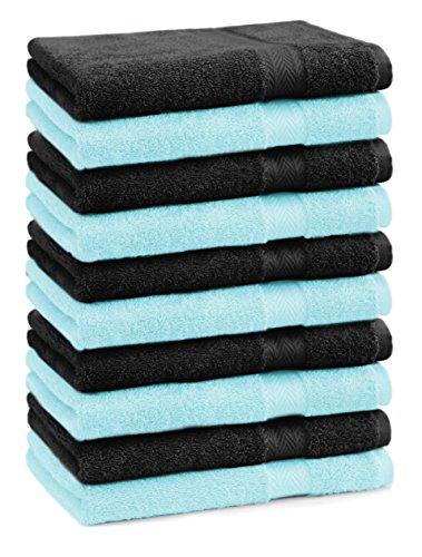 BETZ Lot de 10 serviettes débarbouillettes lavettes taille 30x30 cm en 100% coton Premium couleur noir et turquoise