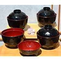 Ciotole zuppa Miso & coperchio & tradizionale X 4, colore: nero, diametro 9,5 cm, colore: rosso