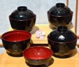 Miso bowls & lids X 4 in traditional black & deep red 9.5cm diameter by Gifts Of The Orient GOTO®
