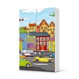 Möbelaufkleber für IKEA Besta Schrank Hochkant 6 Türen | Kinder-Möbel Möbelfolie Klebefolie Sticker Aufkleber | Deko Ideen IKEA Möbel für Kinder Walltattoo | Kids Kinder City Life