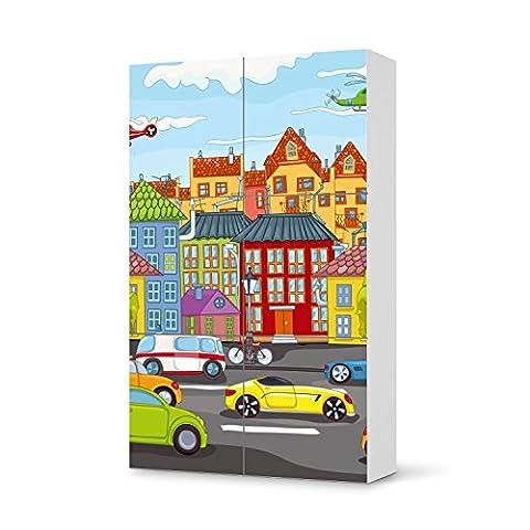 Möbelaufkleber für IKEA Besta Schrank Hochkant 6 Türen   Kinder-Möbel Möbelfolie Klebefolie Sticker Aufkleber   Deko Ideen IKEA Möbel für Kinder Walltattoo   Kids Kinder City Life