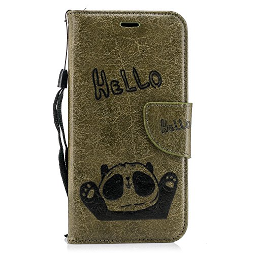 Chreey Samsung Galaxy J7 2017/J730 Hülle, Niedlich Karikatur Hello Panda Anti-Kratzer PU Leder Handy Schutzhülle Flip Bumper Case mit Kartenfächer Standfunktion [Dunkelgrün]
