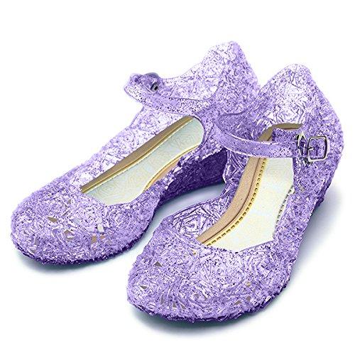 (Katara ES10 - Frozen Eiskönigin Prinzessin Elsa, Cinderella Schuhe Kinder Kostüm, Prinzessinenkleid, Lila , 31)