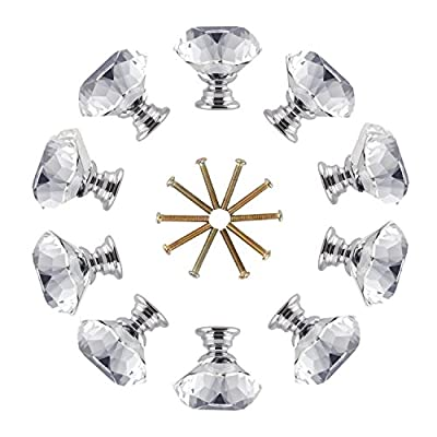 LESHP Crystal Knobs Handle 10 X 30mm Diamond Acrylic Drawer Knobs Glass Door Handle Knob with Screw for Cabinet Furniture Kitchen Home Decorating Clear produced by LESHP - quick delivery from UK.