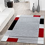 T&T Design Tapis de la bordure modern Tapis de salon Gris/noir/rouge, Polypropylène, Noir, 120 x 170 cm