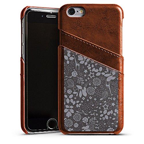 Apple iPhone 5 Housse étui coque protection Girafes Étoiles Gris Étui en cuir marron