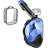 WEYN Schorchel Tauchmasken Erwachsene und Kinder volles Gesicht Schnorchel einfache Atmung 180° Panorama mit Anti-Nebel Anti-Auslauf Go Pro kompatibel (Schnorchel Maske L/XL S/M blau)