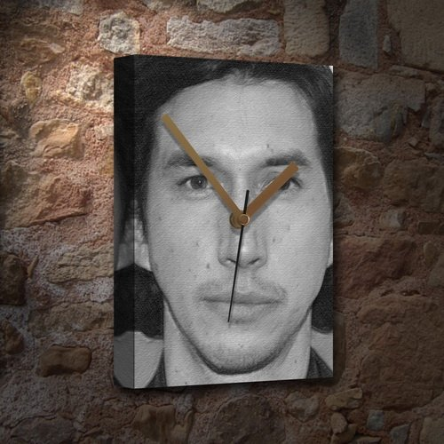 ADAM DRIVER - Canvas Clock (LARGE A3 - Signed by the Artist) #js001