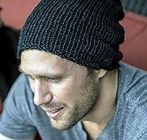 Mens Handmade Black Alpaca and Silk Slouchy Beanie Hat
