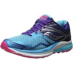 Saucony Women's Ride 9 Running Shoe, Navy/Blue/Pink, 37 W EU/4 W UK