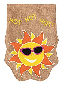 Hot Sun In Sunglasses Applique Burlap House Flag