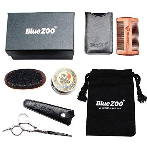 MagiDeal Bart Trimmen/Grooming Kit für Männer, Bartpflege Set, mit Bartkamm, Bartbürste, Bartschere und tasche, Schnurrbart & Bartpflege Geschenk Set für Männer