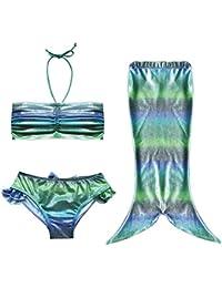 Las niñas se puede nadar Colas de la sirena Disfraz Mar-criada cabestro arriba del bikini del traje de baño del vestido del traje de baño Calzoncillos hasta 2-10 años(Multicolor,140(9-10años))