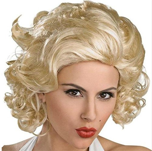 JIAFA Europa und die Vereinigten Staaten Perücke, Kurze Haare, helles Gold in den Langen lockigen Haaren, Kurze Haare, ()